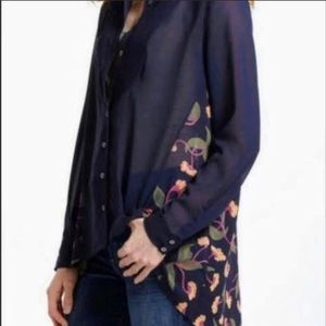 Anthro Navy Button Down Floral Back/Side Accent